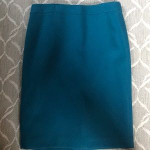 JCrew Teal Wool No. 2 Pencil Skirt